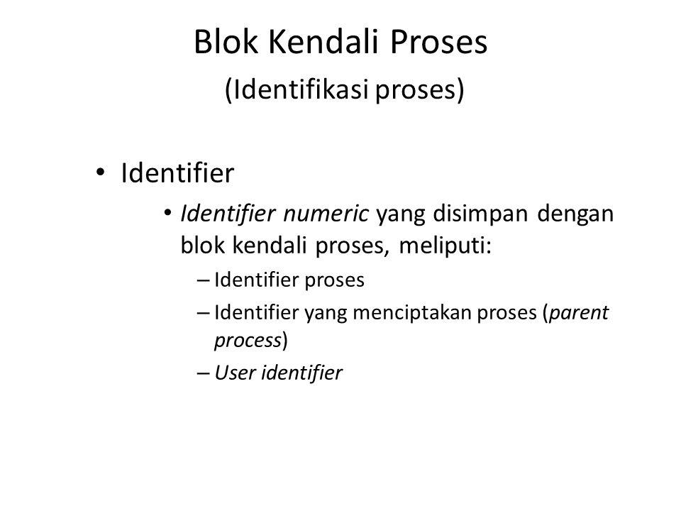 Blok Kendali Proses (Identifikasi proses) Identifier Identifier numeric yang disimpan dengan blok kendali proses, meliputi: – Identifier proses – Iden