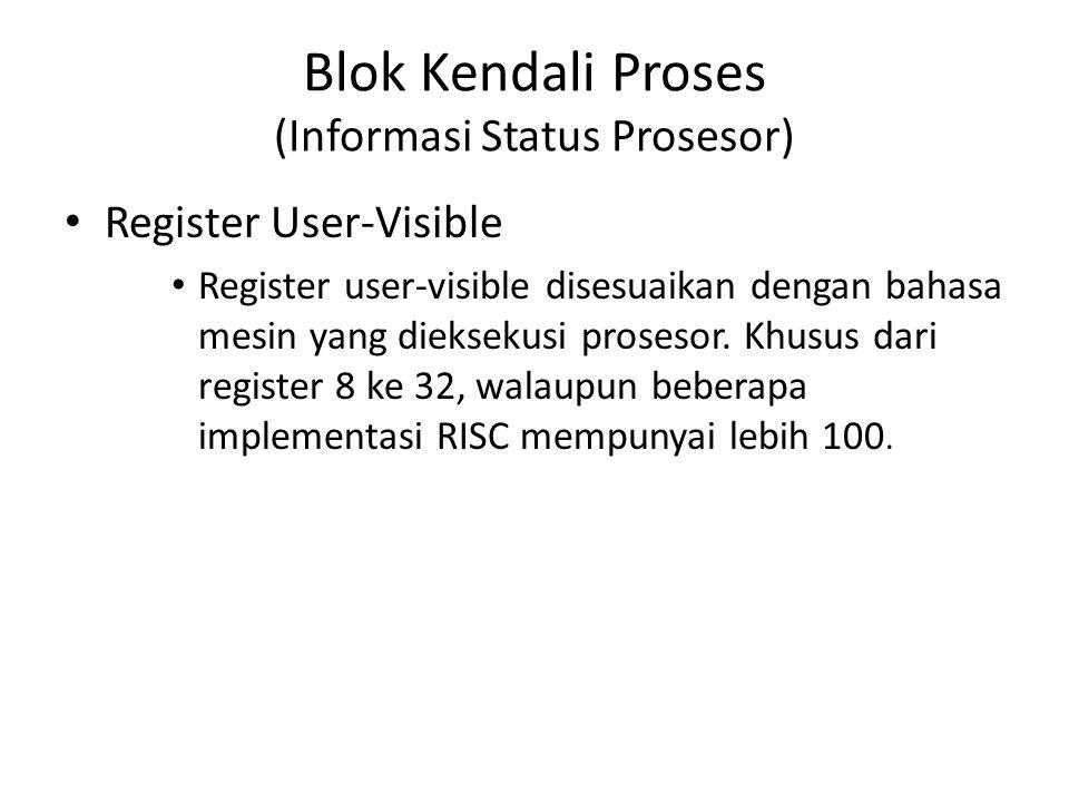 Blok Kendali Proses (Informasi Status Prosesor) Register User-Visible Register user-visible disesuaikan dengan bahasa mesin yang dieksekusi prosesor.