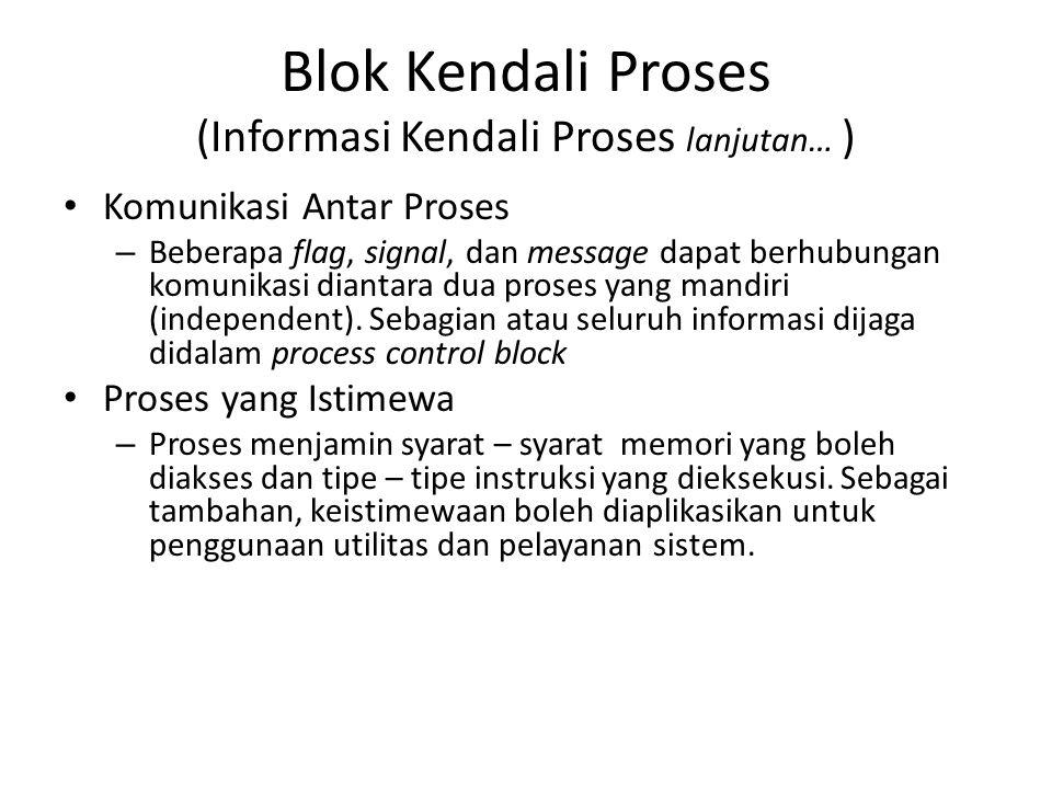 Blok Kendali Proses (Informasi Kendali Proses lanjutan… ) Komunikasi Antar Proses – Beberapa flag, signal, dan message dapat berhubungan komunikasi di