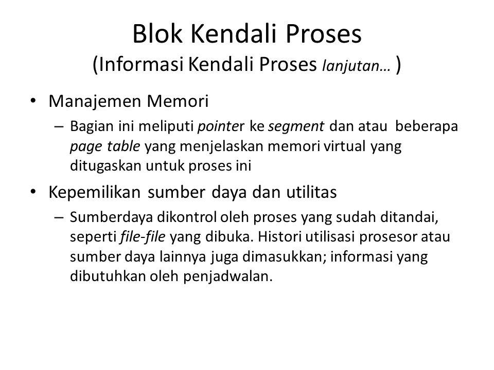 Blok Kendali Proses (Informasi Kendali Proses lanjutan… ) Manajemen Memori – Bagian ini meliputi pointer ke segment dan atau beberapa page table yang