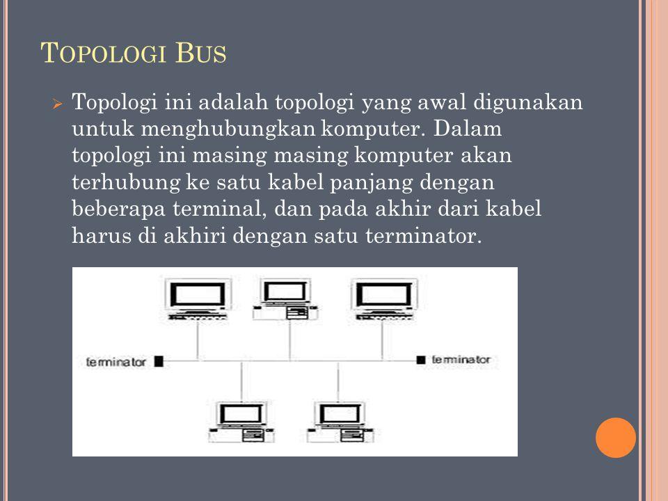 T OPOLOGI B US  Topologi ini adalah topologi yang awal digunakan untuk menghubungkan komputer. Dalam topologi ini masing masing komputer akan terhubu