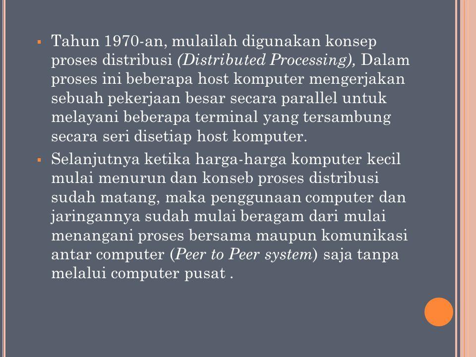  Tahun 1970-an, mulailah digunakan konsep proses distribusi (Distributed Processing), Dalam proses ini beberapa host komputer mengerjakan sebuah peke