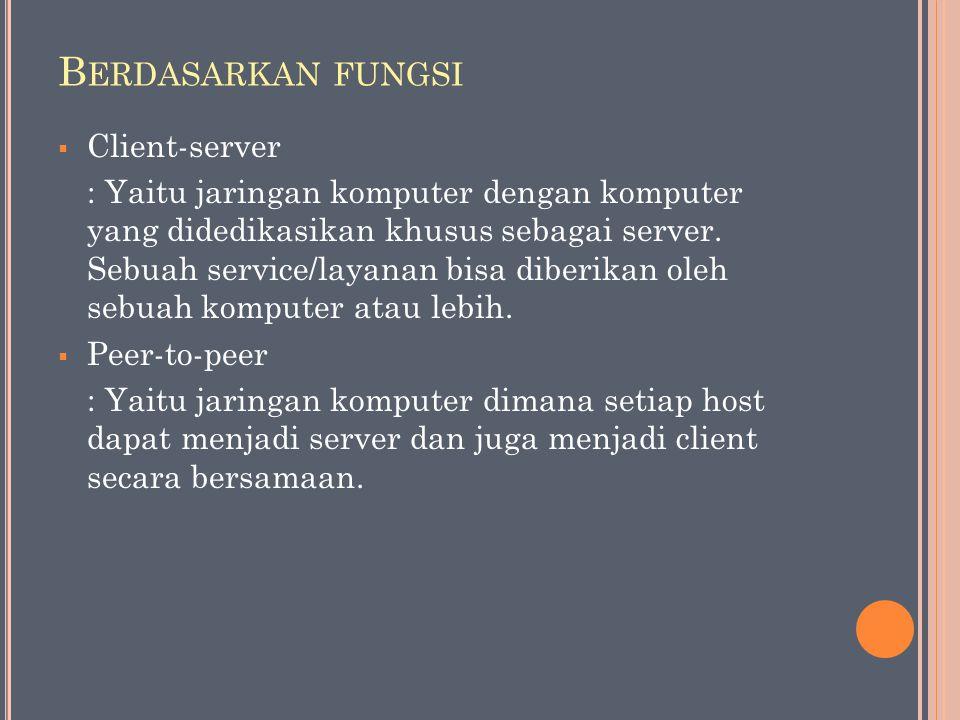 B ERDASARKAN FUNGSI  Client-server : Yaitu jaringan komputer dengan komputer yang didedikasikan khusus sebagai server. Sebuah service/layanan bisa di