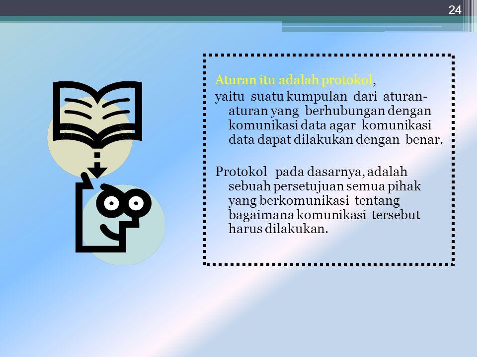 jadi dalam komunikasi data juga memerlukan sebuah peraturan atau prosedur yang saling menterjemahkan bahasa yang dipakai pengirim dan penerima 23