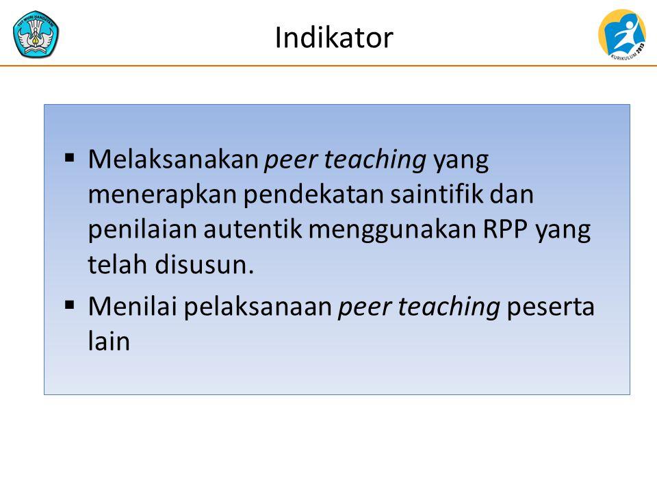 Indikator  Melaksanakan peer teaching yang menerapkan pendekatan saintifik dan penilaian autentik menggunakan RPP yang telah disusun.