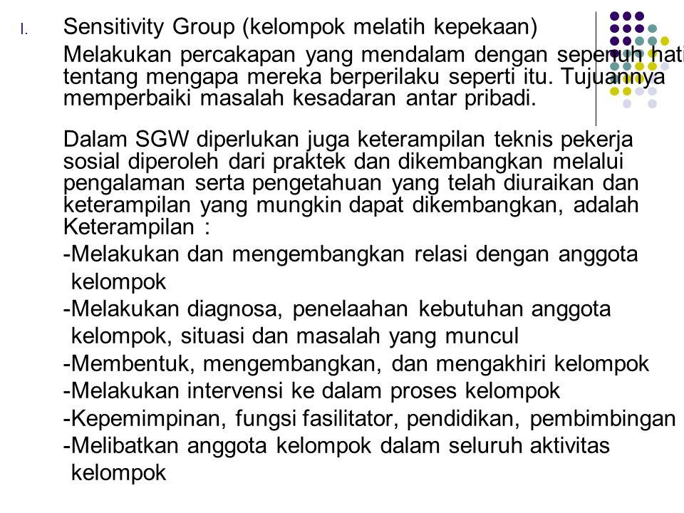 I. Sensitivity Group (kelompok melatih kepekaan) Melakukan percakapan yang mendalam dengan sepenuh hati tentang mengapa mereka berperilaku seperti itu