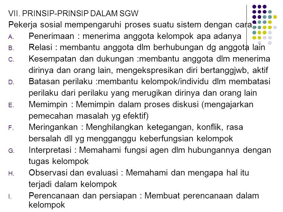 VII. PRINSIP-PRINSIP DALAM SGW Pekerja sosial mempengaruhi proses suatu sistem dengan cara : A. Penerimaan : menerima anggota kelompok apa adanya B. R
