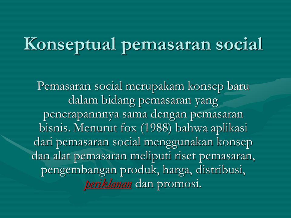 Konseptual pemasaran social Pemasaran social merupakam konsep baru dalam bidang pemasaran yang penerapannnya sama dengan pemasaran bisnis.