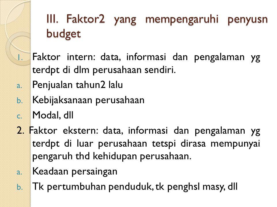 III. Faktor2 yang mempengaruhi penyusn budget 1. Faktor intern: data, informasi dan pengalaman yg terdpt di dlm perusahaan sendiri. a. Penjualan tahun