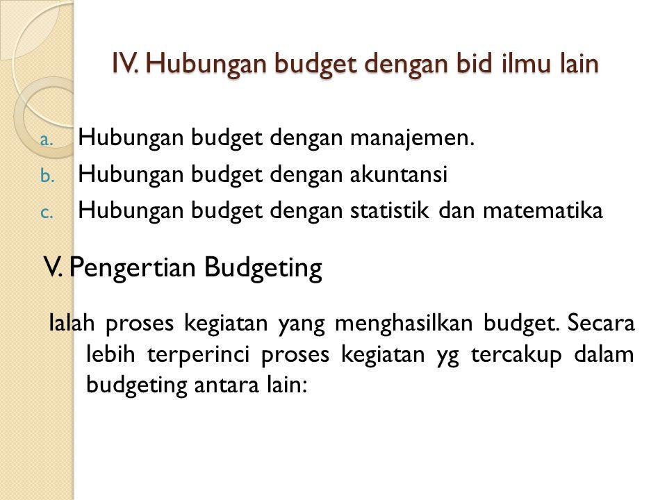 IV. Hubungan budget dengan bid ilmu lain a. Hubungan budget dengan manajemen. b. Hubungan budget dengan akuntansi c. Hubungan budget dengan statistik