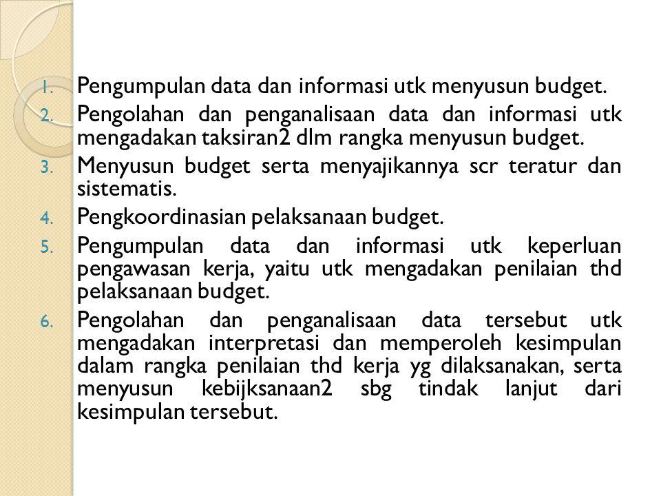 1. Pengumpulan data dan informasi utk menyusun budget. 2. Pengolahan dan penganalisaan data dan informasi utk mengadakan taksiran2 dlm rangka menyusun