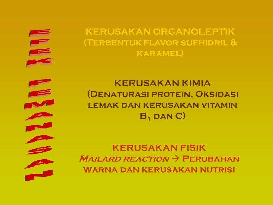 KERUSAKAN FISIK Mailard reaction  Perubahan warna dan kerusakan nutrisi KERUSAKAN KIMIA (Denaturasi protein, Oksidasi lemak dan kerusakan vitamin B 1 dan C) KERUSAKAN ORGANOLEPTIK (Terbentuk flavor sufhidril & karamel)