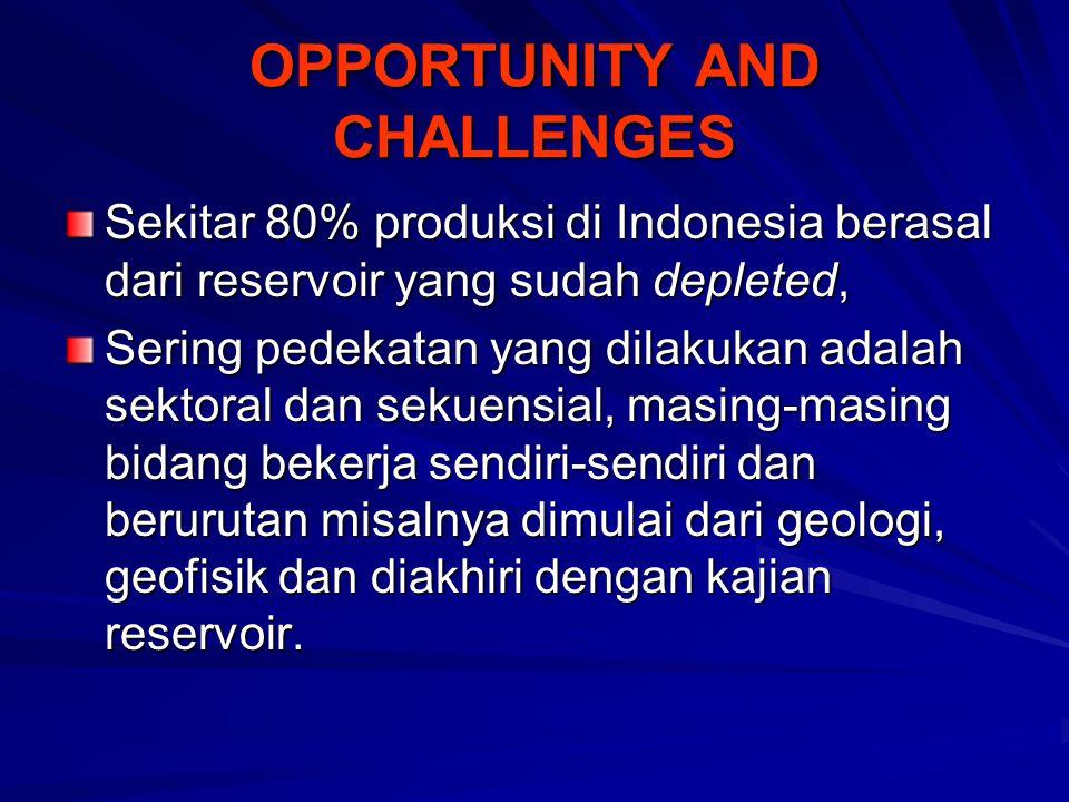 OPPORTUNITY AND CHALLENGES Sekitar 80% produksi di Indonesia berasal dari reservoir yang sudah depleted, Sering pedekatan yang dilakukan adalah sektoral dan sekuensial, masing-masing bidang bekerja sendiri-sendiri dan berurutan misalnya dimulai dari geologi, geofisik dan diakhiri dengan kajian reservoir.