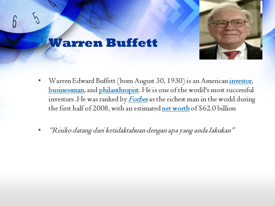 Warren Buffett Warren Edward Buffett (born August 30, 1930) is an American investor, businessman, and philanthropist.