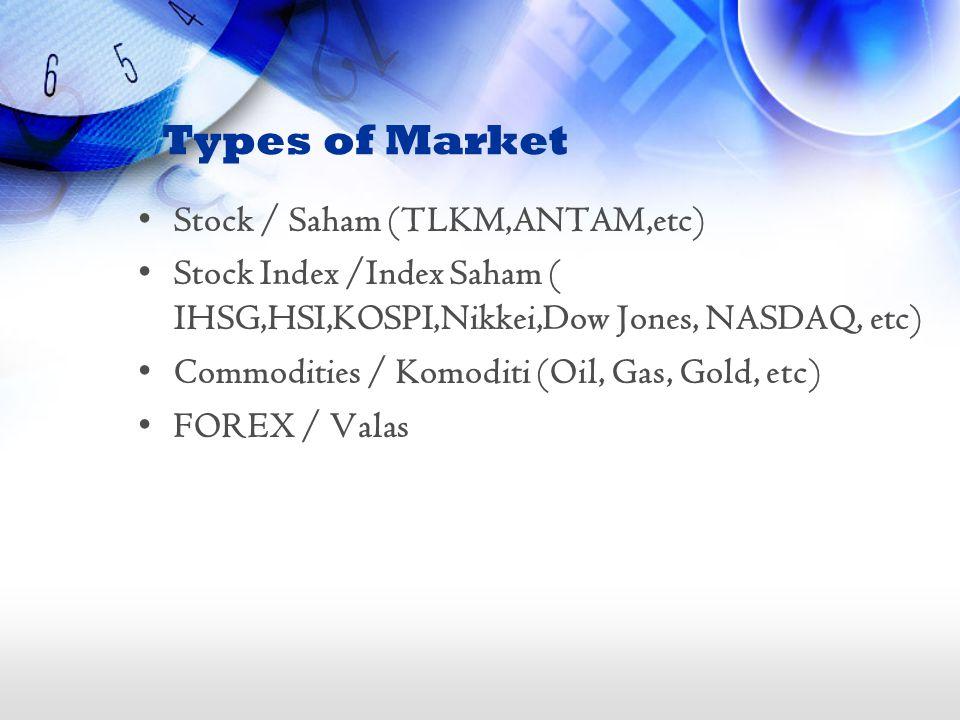 Types of Market Stock / Saham (TLKM,ANTAM,etc) Stock Index /Index Saham ( IHSG,HSI,KOSPI,Nikkei,Dow Jones, NASDAQ, etc) Commodities / Komoditi (Oil, G