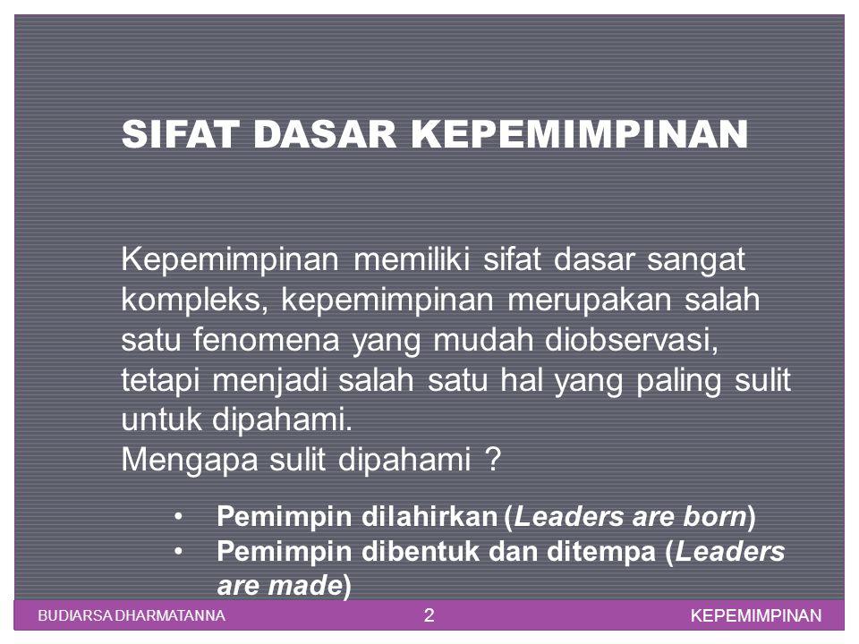 KEPEMIMPINAN BUDIARSA DHARMATANNA 2 SIFAT DASAR KEPEMIMPINAN Kepemimpinan memiliki sifat dasar sangat kompleks, kepemimpinan merupakan salah satu feno