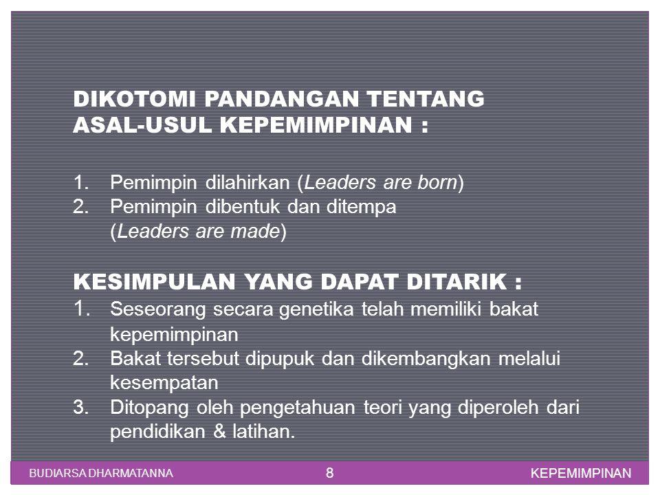 KEPEMIMPINAN BUDIARSA DHARMATANNA 8 DIKOTOMI PANDANGAN TENTANG ASAL-USUL KEPEMIMPINAN : 1.Pemimpin dilahirkan (Leaders are born) 2.Pemimpin dibentuk d