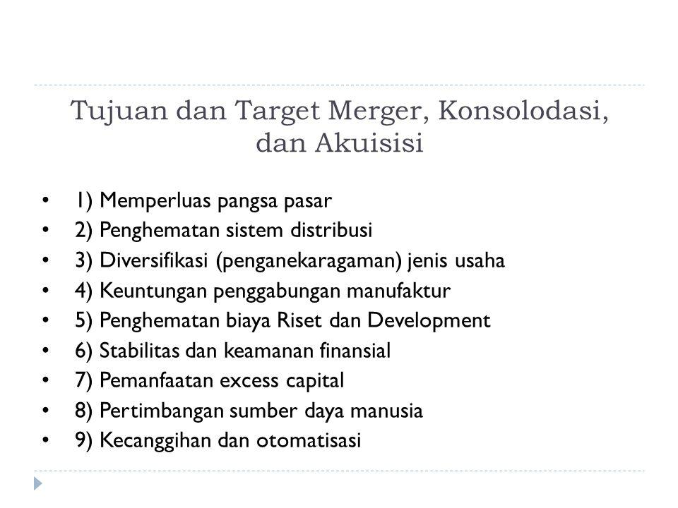 Tujuan dan Target Merger, Konsolodasi, dan Akuisisi 1) Memperluas pangsa pasar 2) Penghematan sistem distribusi 3) Diversifikasi (penganekaragaman) jenis usaha 4) Keuntungan penggabungan manufaktur 5) Penghematan biaya Riset dan Development 6) Stabilitas dan keamanan finansial 7) Pemanfaatan excess capital 8) Pertimbangan sumber daya manusia 9) Kecanggihan dan otomatisasi