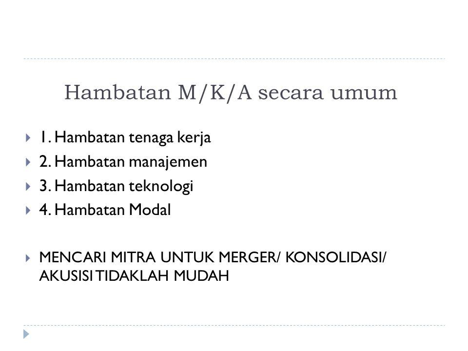 Hambatan M/K/A secara umum  1.Hambatan tenaga kerja  2.