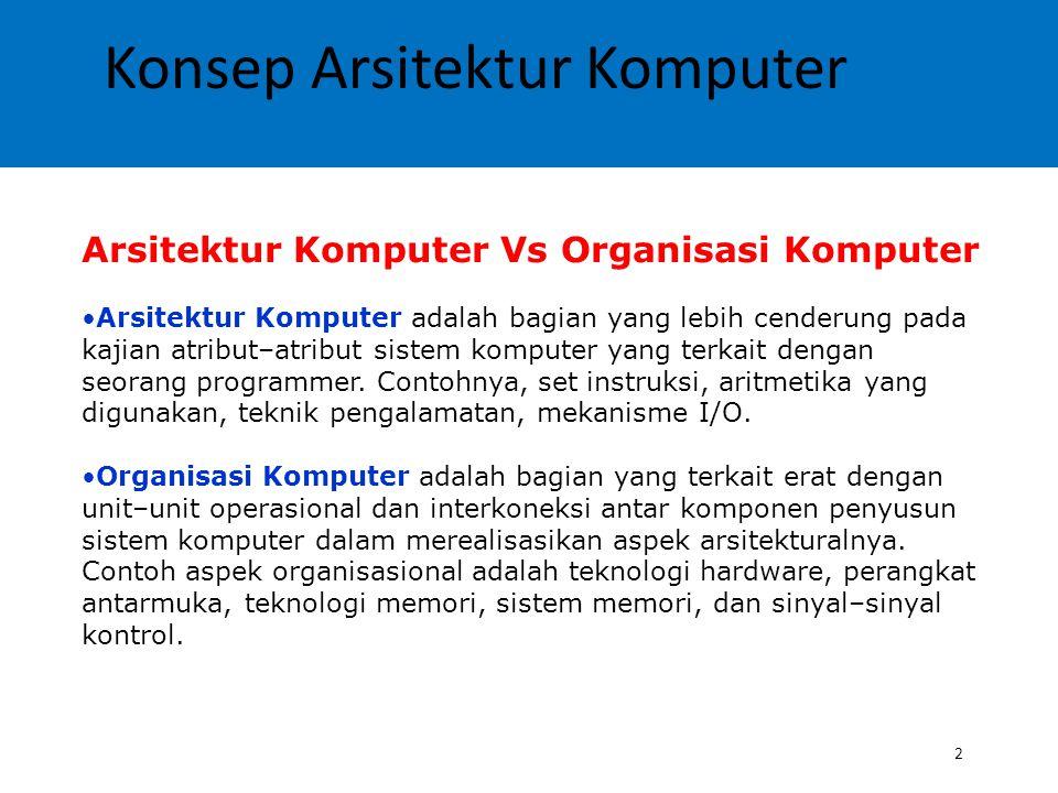Konsep Arsitektur Komputer 2 Arsitektur Komputer Vs Organisasi Komputer Arsitektur Komputer adalah bagian yang lebih cenderung pada kajian atribut–atr