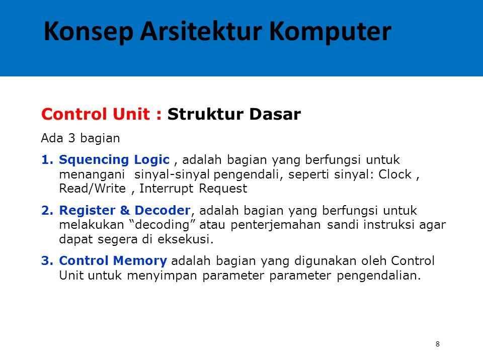 8 Control Unit : Struktur Dasar Ada 3 bagian 1.Squencing Logic, adalah bagian yang berfungsi untuk menangani sinyal-sinyal pengendali, seperti sinyal: Clock, Read/Write, Interrupt Request 2.Register & Decoder, adalah bagian yang berfungsi untuk melakukan decoding atau penterjemahan sandi instruksi agar dapat segera di eksekusi.