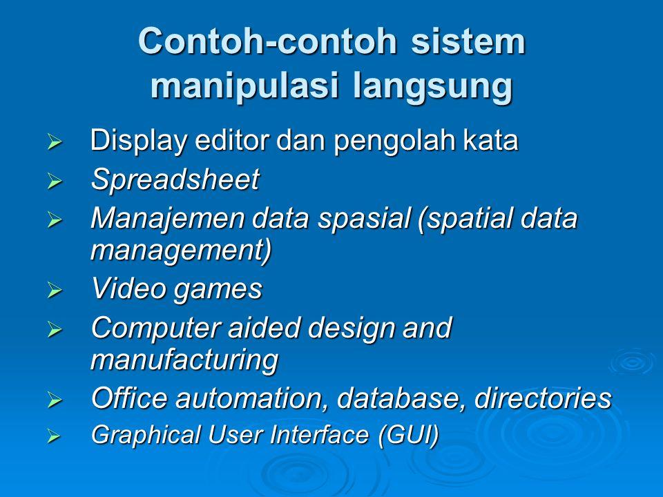 Contoh-contoh sistem manipulasi langsung  Display editor dan pengolah kata  Spreadsheet  Manajemen data spasial (spatial data management)  Video g