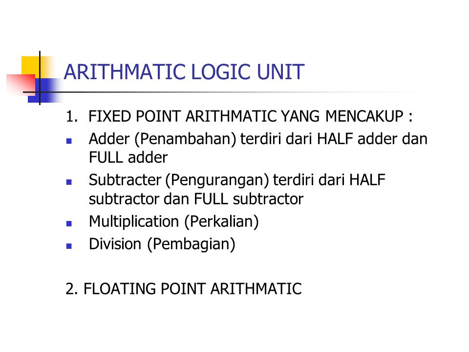 ARITHMATIC LOGIC UNIT 1. FIXED POINT ARITHMATIC YANG MENCAKUP : Adder (Penambahan) terdiri dari HALF adder dan FULL adder Subtracter (Pengurangan) ter