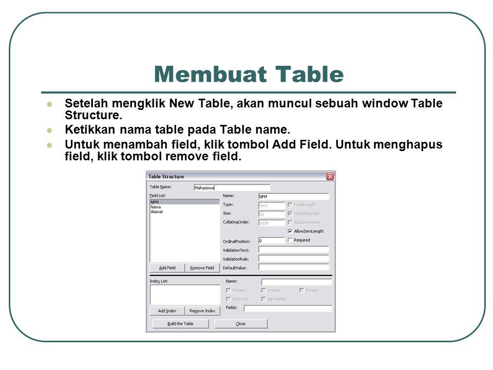 Membuat Table Setelah mengklik New Table, akan muncul sebuah window Table Structure.
