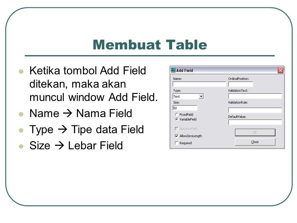 Membuat Table Ketika tombol Add Field ditekan, maka akan muncul window Add Field.