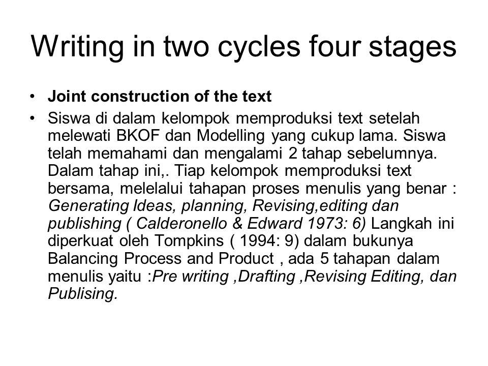 Writing in two cycles four stages Joint construction of the text Siswa di dalam kelompok memproduksi text setelah melewati BKOF dan Modelling yang cuk