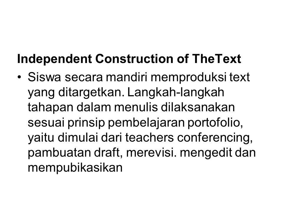 Independent Construction of TheText Siswa secara mandiri memproduksi text yang ditargetkan. Langkah-langkah tahapan dalam menulis dilaksanakan sesuai
