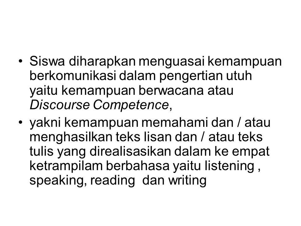 Siswa diharapkan menguasai kemampuan berkomunikasi dalam pengertian utuh yaitu kemampuan berwacana atau Discourse Competence, yakni kemampuan memahami