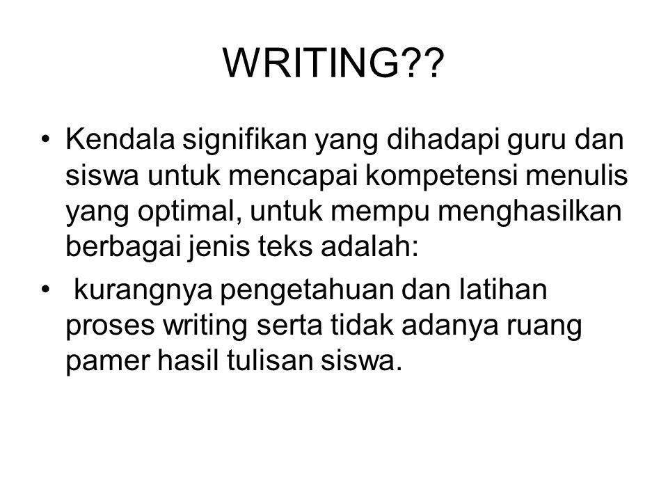 WRITING?? Kendala signifikan yang dihadapi guru dan siswa untuk mencapai kompetensi menulis yang optimal, untuk mempu menghasilkan berbagai jenis teks