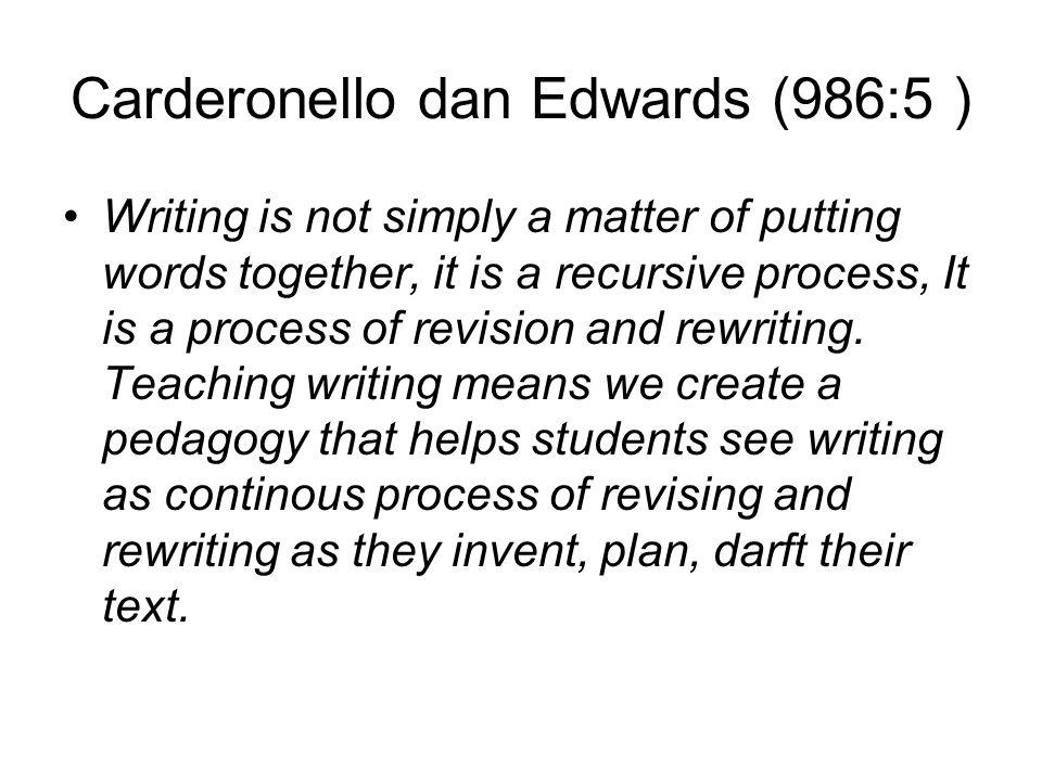 PROCESS OF WRITING Inventing: Yaitu menemukan dan menbangkitkan idea/gagasan dari siswa, apa yang akan siswa tulis atau siswa sampaikan, langkah menemukan ide bisa dengan sebanyak cara seperti membaca, berbicara, curah gagasan, pertanyaan, mindmapping dll.