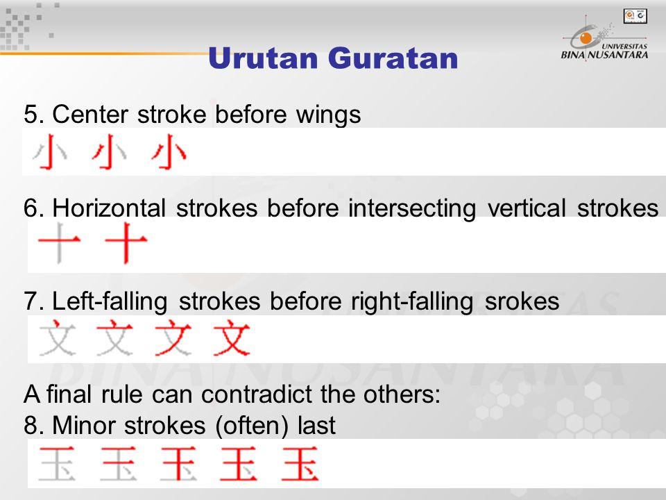 Urutan Guratan 5. Center stroke before wings 6.