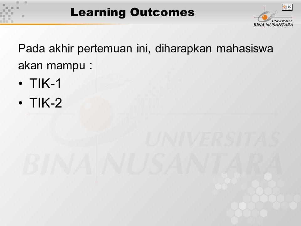 Learning Outcomes Pada akhir pertemuan ini, diharapkan mahasiswa akan mampu : TIK-1 TIK-2