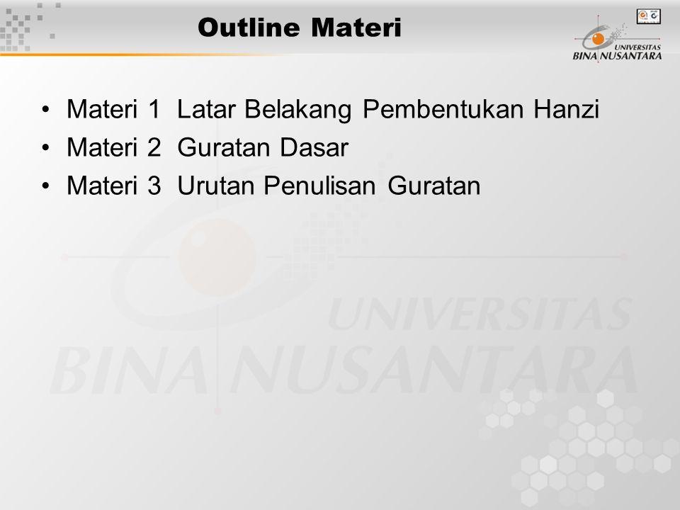 Outline Materi Materi 1 Latar Belakang Pembentukan Hanzi Materi 2 Guratan Dasar Materi 3 Urutan Penulisan Guratan