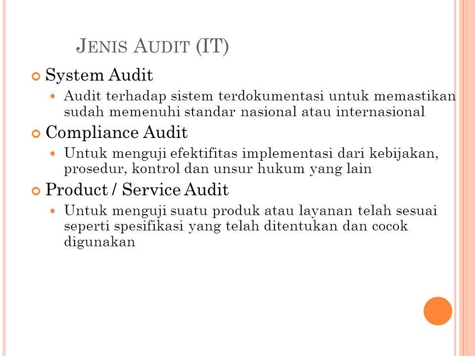 J ENIS A UDIT (IT) System Audit Audit terhadap sistem terdokumentasi untuk memastikan sudah memenuhi standar nasional atau internasional Compliance Au