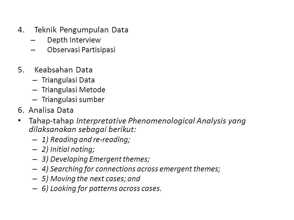 4.Teknik Pengumpulan Data – Depth Interview – Observasi Partisipasi 5.Keabsahan Data – Triangulasi Data – Triangulasi Metode – Triangulasi sumber 6. A