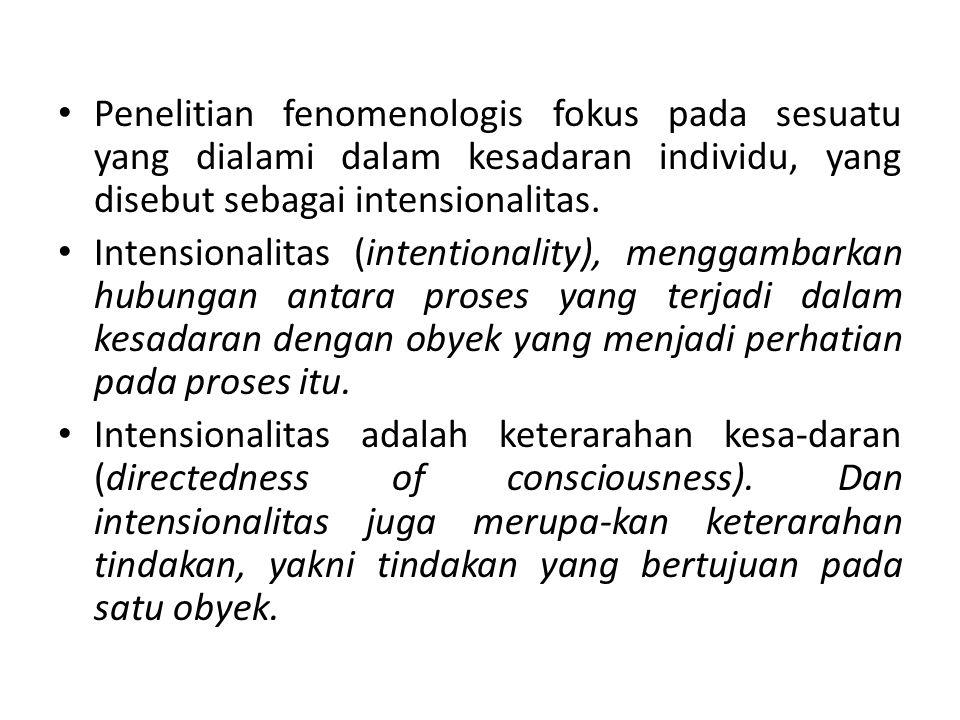 Penelitian fenomenologis fokus pada sesuatu yang dialami dalam kesadaran individu, yang disebut sebagai intensionalitas.