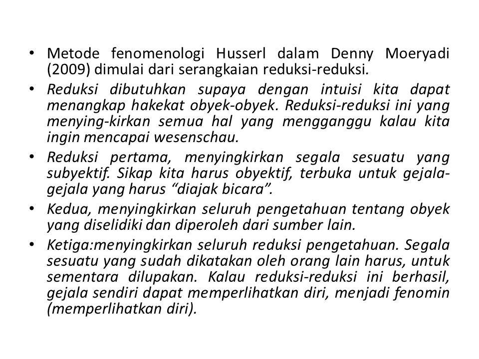 Metode fenomenologi Husserl dalam Denny Moeryadi (2009) dimulai dari serangkaian reduksi-reduksi. Reduksi dibutuhkan supaya dengan intuisi kita dapat