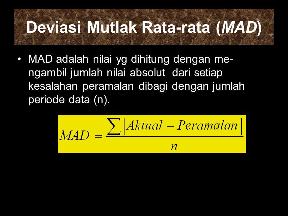 Deviasi Mutlak Rata-rata (MAD) MAD adalah nilai yg dihitung dengan me- ngambil jumlah nilai absolut dari setiap kesalahan peramalan dibagi dengan jumlah periode data (n).