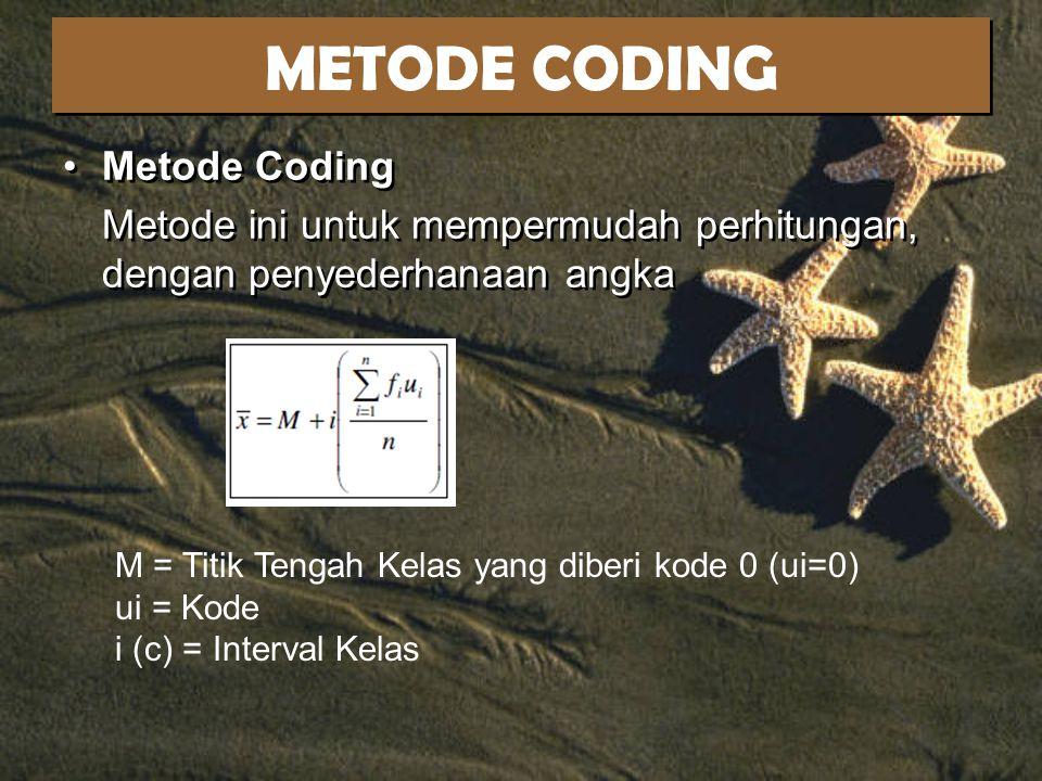 METODE CODING Metode Coding Metode ini untuk mempermudah perhitungan, dengan penyederhanaan angka Metode Coding Metode ini untuk mempermudah perhitungan, dengan penyederhanaan angka M = Titik Tengah Kelas yang diberi kode 0 (ui=0) ui = Kode i (c) = Interval Kelas