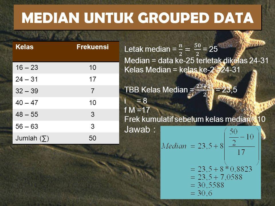 MEDIAN UNTUK GROUPED DATA KelasFrekuensi 16 – 2310 24 – 3117 32 – 397 40 – 4710 48 – 553 56 – 633 Jumlah (∑)50