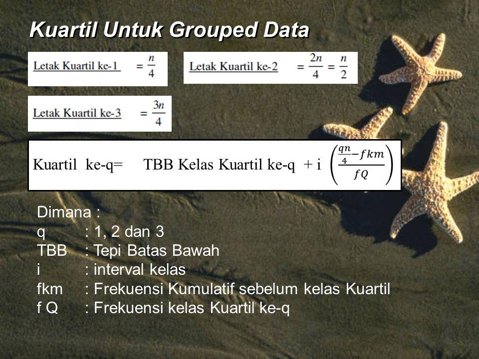 Kuartil Untuk Grouped Data Dimana : q: 1, 2 dan 3 TBB: Tepi Batas Bawah i: interval kelas fkm: Frekuensi Kumulatif sebelum kelas Kuartil f Q: Frekuensi kelas Kuartil ke-q