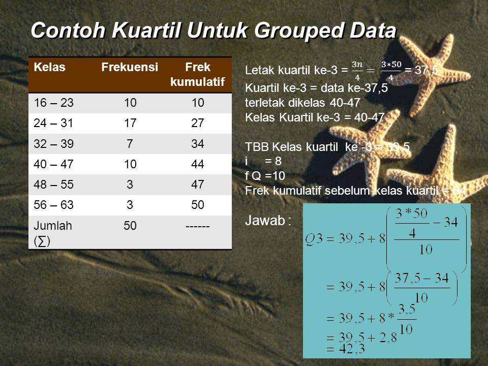 Contoh Kuartil Untuk Grouped Data KelasFrekuensiFrek kumulatif 16 – 2310 24 – 311727 32 – 39734 40 – 471044 48 – 55347 56 – 63350 Jumlah (∑) 50------
