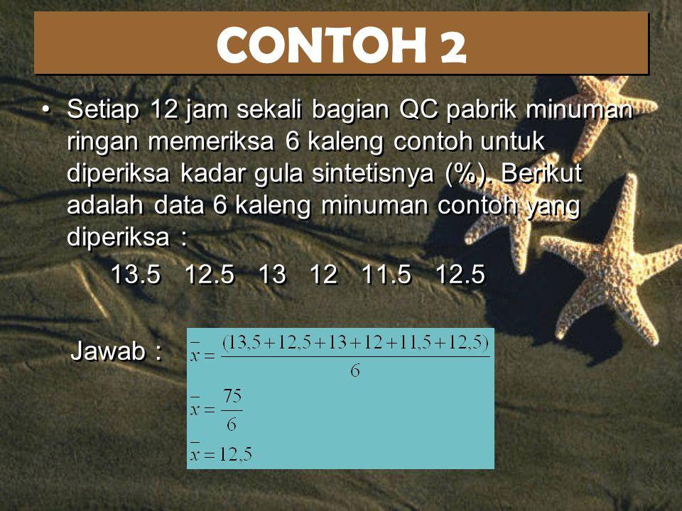 CONTOH 5 : 1.Tinggi Badan 5 mahasiswa (centimeter) : 175 178 160 173 178 Sorted :160173175178178 n = 5Letak Median = (5+1) / 2 = 3 Median = Data ke-3 = 175 2.Tinggi Badan 6 mahasiswa (centimeter) : 175 178 160 173 178 180 Sorted :160173175178178180 n = 6Letak Median = (6+1) / 2 = 3,5 Median = (Data ke-3 + Data ke-4) / 2 = (175+178)/2 = 176.5 1.Tinggi Badan 5 mahasiswa (centimeter) : 175 178 160 173 178 Sorted :160173175178178 n = 5Letak Median = (5+1) / 2 = 3 Median = Data ke-3 = 175 2.Tinggi Badan 6 mahasiswa (centimeter) : 175 178 160 173 178 180 Sorted :160173175178178180 n = 6Letak Median = (6+1) / 2 = 3,5 Median = (Data ke-3 + Data ke-4) / 2 = (175+178)/2 = 176.5