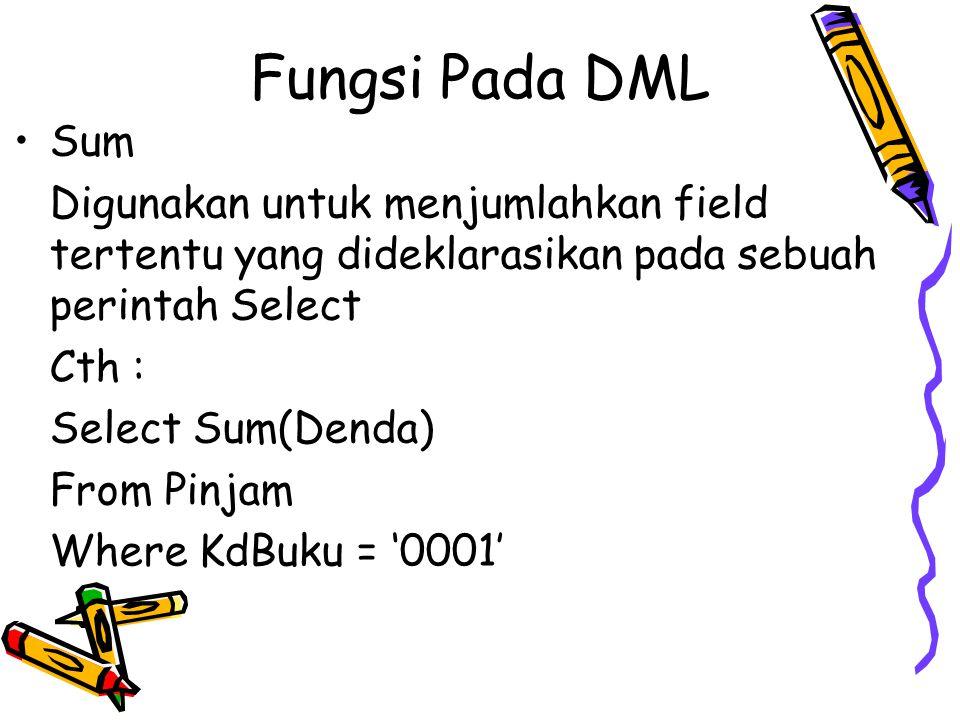 Fungsi Pada DML Sum Digunakan untuk menjumlahkan field tertentu yang dideklarasikan pada sebuah perintah Select Cth : Select Sum(Denda) From Pinjam Wh