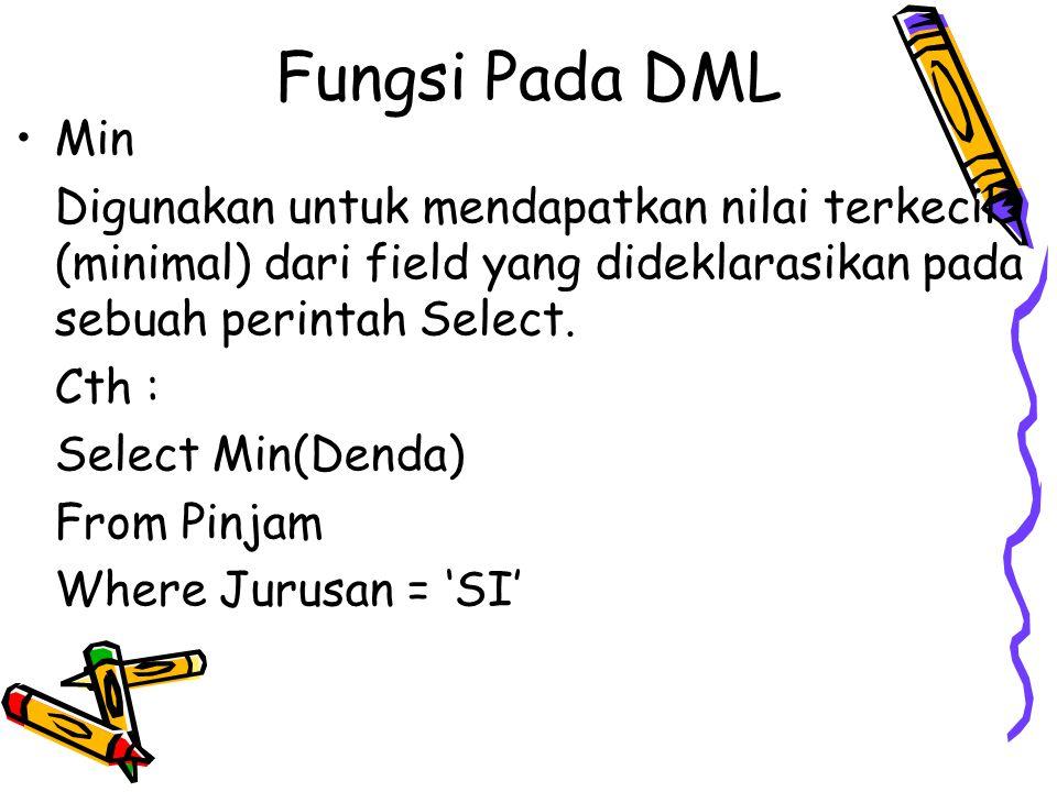 Fungsi Pada DML Min Digunakan untuk mendapatkan nilai terkecil (minimal) dari field yang dideklarasikan pada sebuah perintah Select. Cth : Select Min(