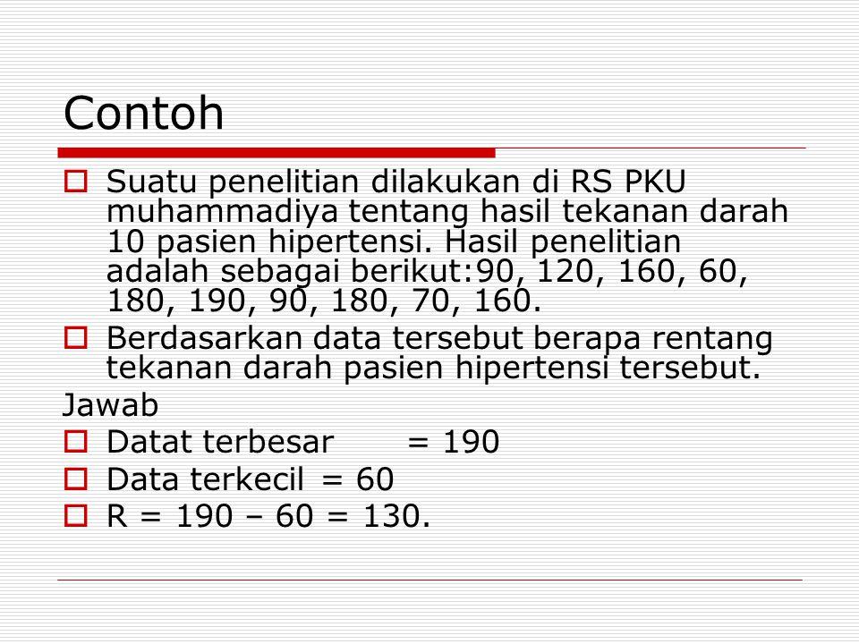 Contoh  Suatu penelitian dilakukan di RS PKU muhammadiya tentang hasil tekanan darah 10 pasien hipertensi.
